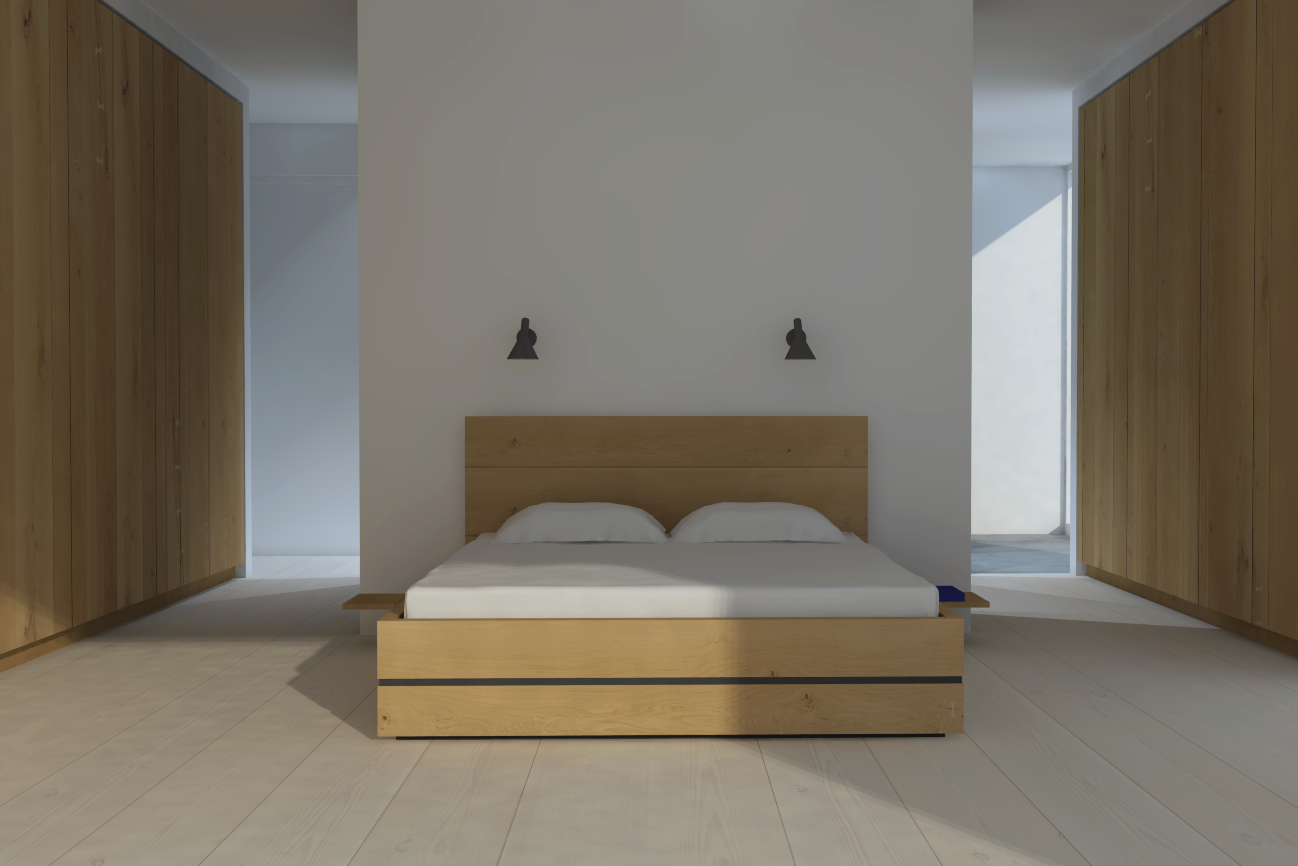 Rendering oak interior furniture 39 model dinesen for Bedroom ideas oak bed