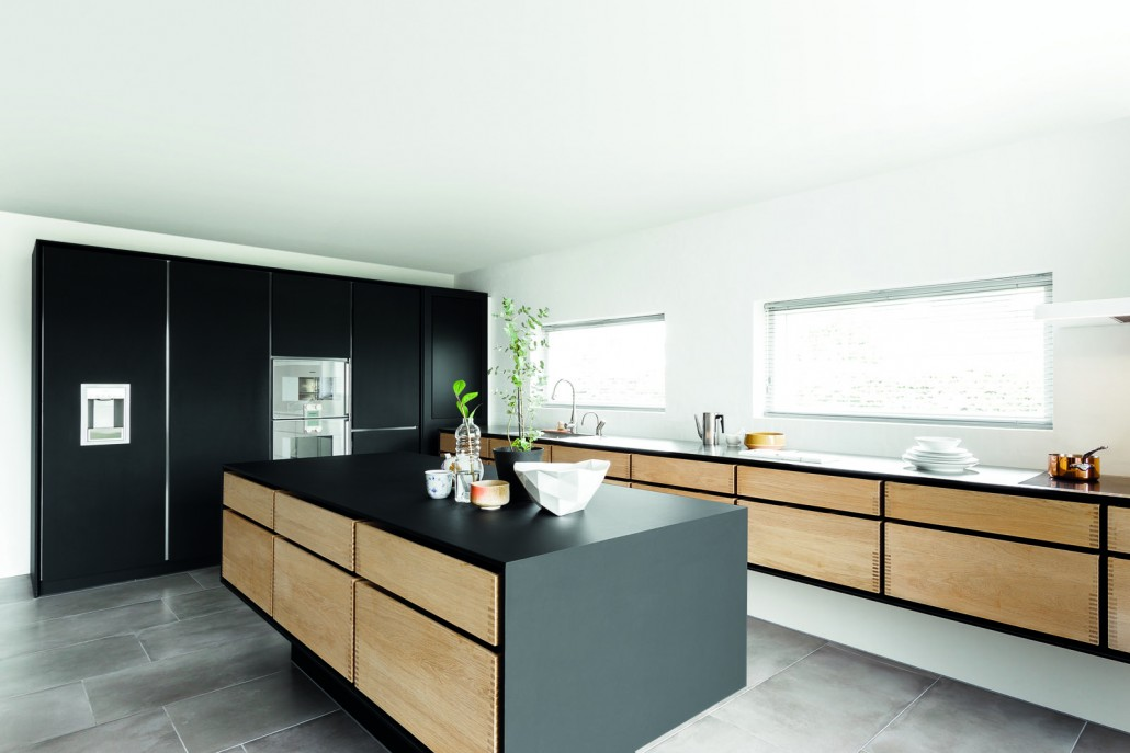 Minimalistic Kitchen In Oak Linoleum And Solid Steel By